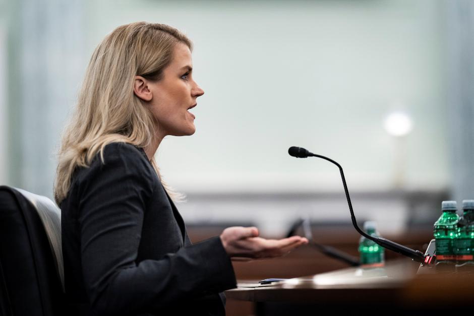 image of frances haugen speaking in congressional hearing