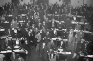 historical photo of protesters seated in minnesota senate chamber