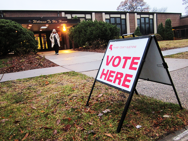Outside the polling place at Bethel Christian Fellowship Hall