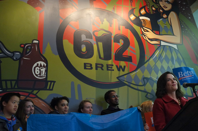 Betsy Hodges speaking during a Halloween rally at 612 Brewery.