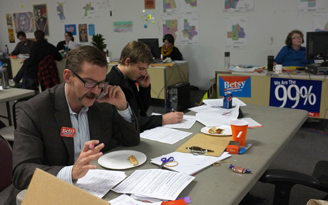 State Sen. Scott Dibble, left, making calls for the Betsy Hodges campaign on Election Day.