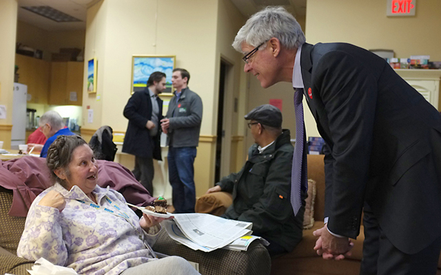 Mark Andrews campaigning at the U Care senior center in downtown Minneapolis on Election Day.