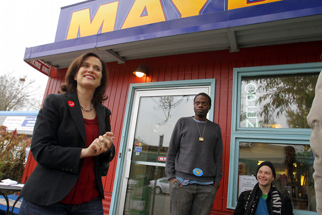 Betsy Hodges making one of her final Election Day campaign stops at the May Day Café in south Minneapolis.
