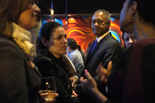Don Samuels attending his campaign party at the Smack Shack in the North Loop neighborhood.