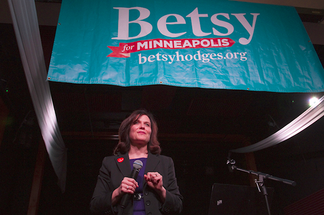 Betsy Hodges speaking to her supporters on Election Night at El Nuevo Rodeo.