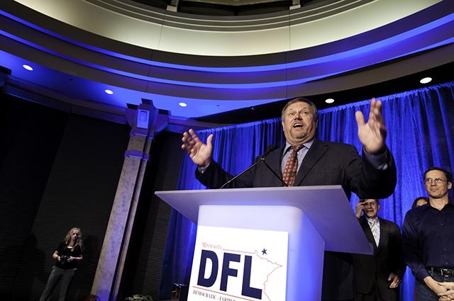DFL Sen. Tom Bakk greets the DFL crowd