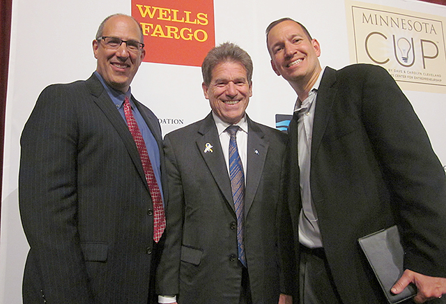 Minnesota Cup co-founders Dan Mallin, left, and Scott Litman, right, with Minnesota Secretary of State Mark Ritchie