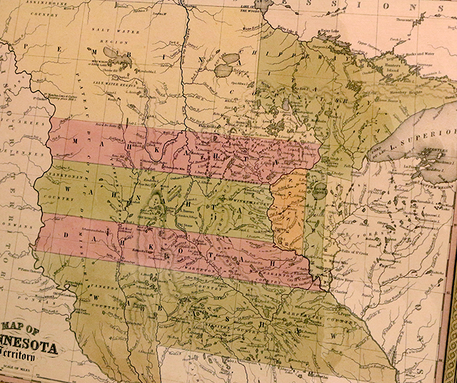 A 1851 map of Minnesota Territory courtesy of the Minnesota Historical Society.