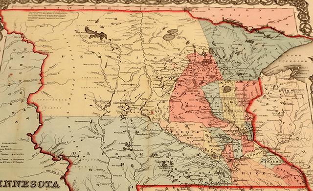 A 1854 map of Minnesota courtesy of the Minnesota Historical Society.