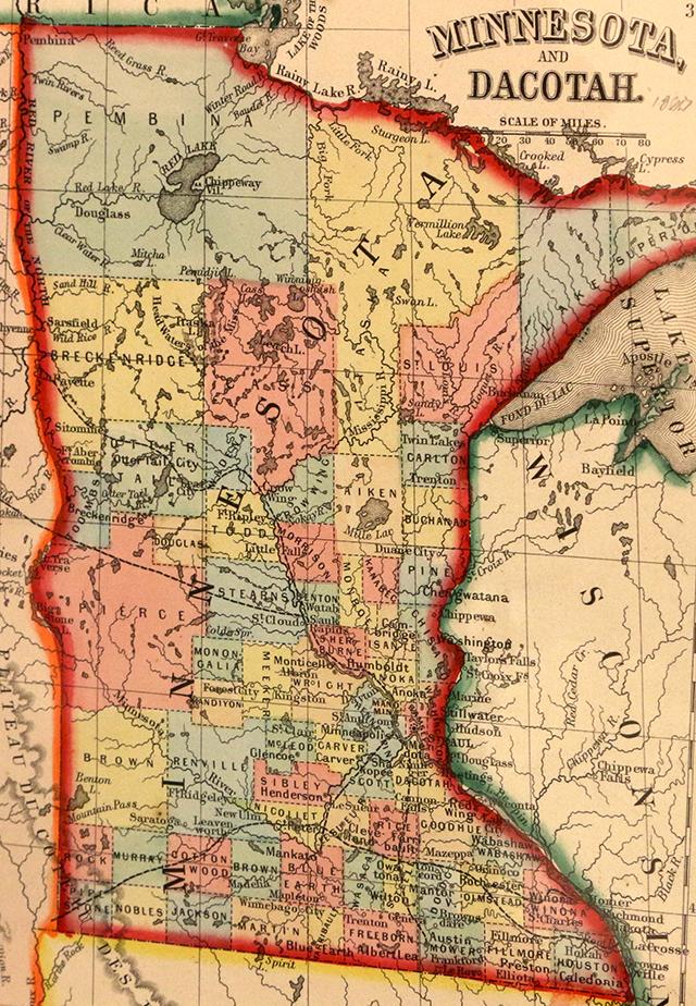 A 1860 map of Minnesota courtesy of the Minnesota Historical Society.