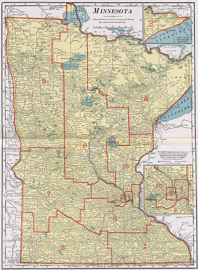 A map of Minnesota's ten congressional districts in 1913.