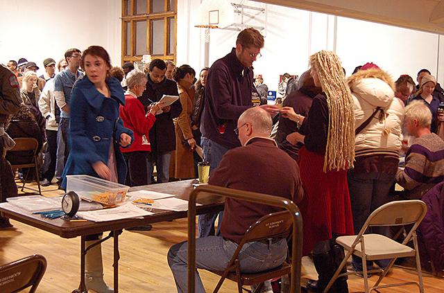 DFL caucus-goers at St. Stephen's School in Minneapolis in 2008.