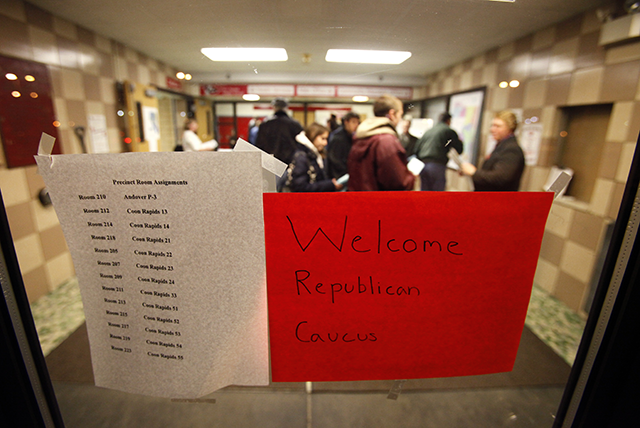Voters gathering for the 2012 Minnesota Republican caucus