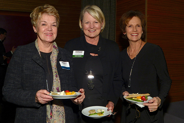 Nancy Johnson, MinnPost board member Vernae Hasbargen and Maggie Vertin
