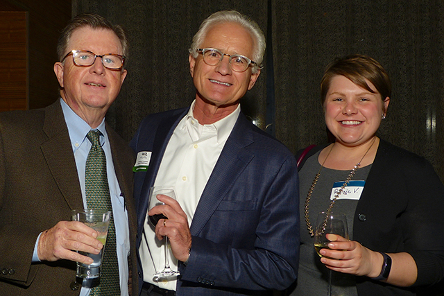 Anniversary party sponsors Jeff Keyes, Wil Heupel and Angie V.