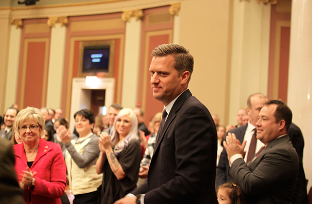 Kurt Daudt shown following his re-election as Speaker of the House.