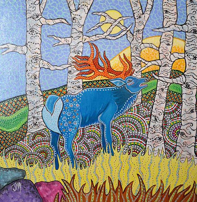 "Fall 2017 Saint Paul Art Crawl poster, ""In the Birchwoods Calling All Ladies"""
