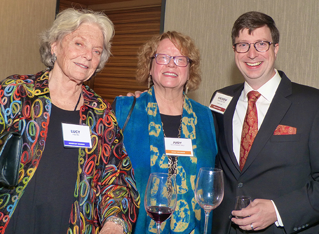 Lucy Hahn, event sponsor Judy Schwartau and MinnPost CEO Andrew Wallmeyer