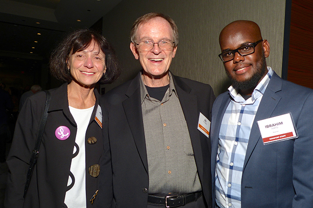 Event sponsors Peggy and Ed Pluimer and MinnPost reporter Ibrahim Hirsi