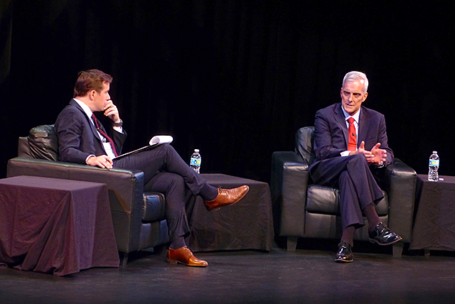 MinnPost editor Andrew Putz interviewing Denis McDonough