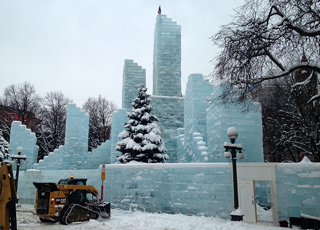 Final touches being made to the Ice Palace in Rice park in St. Paul.