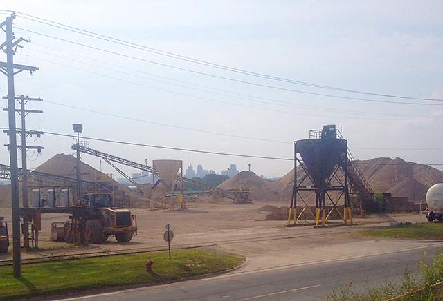 Piles and piles of gravel, framing the St. Paul skyline.