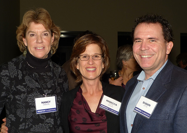 Nancy Gibson, state auditor Rebecca Otto and Shawn Otto