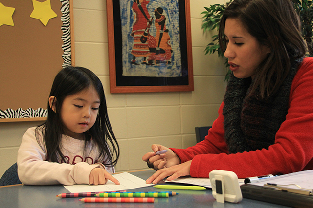 First-grader Abby working with tutor Jenny Nyberg