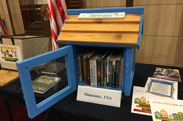 The Little Free Library that was presented to the Alexandria library