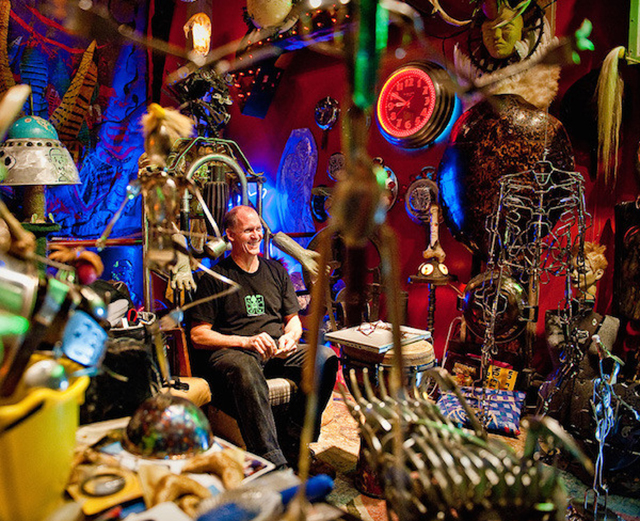 Sculptor Allen Christian in his House of Balls.