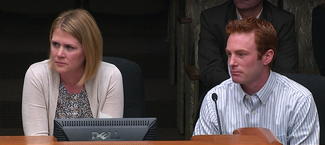 Amanda and Chris Duffy testifying before the House Taxes Committee on April 12.