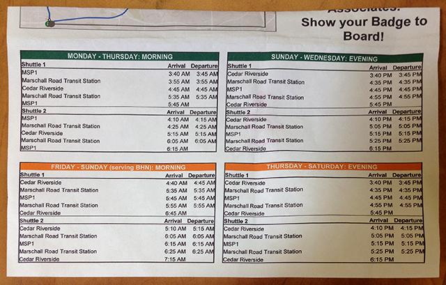 Amazon employee shuttle schedule.