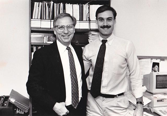 Then-legislative staffer Gregg Peppin, right, meeting then-Gov. Arne Carlson