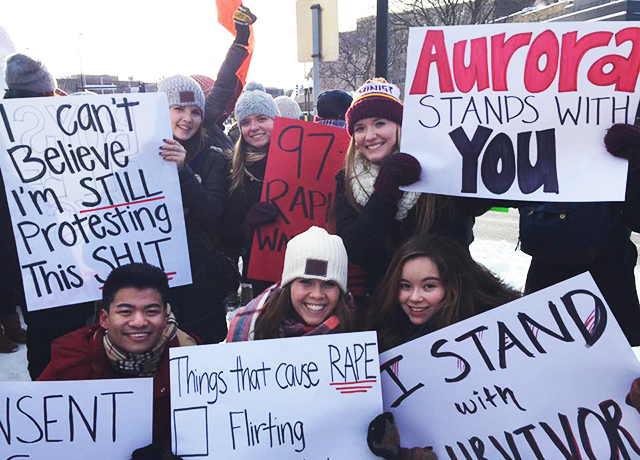 Aurora staff and volunteers at a rally in support of sexual assault survivors