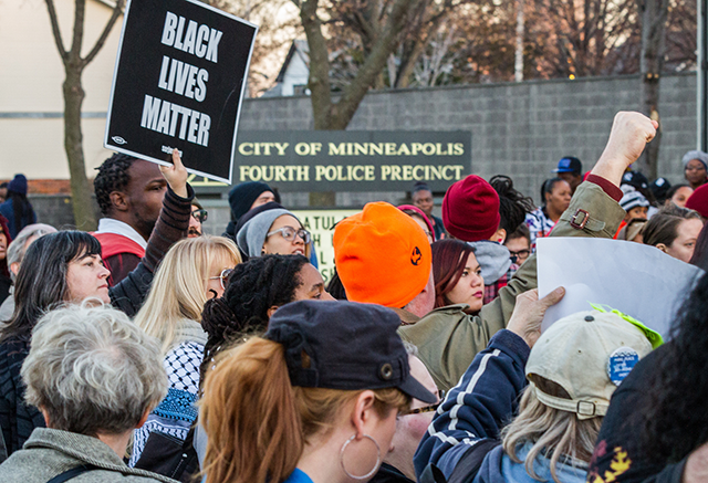 A group of community and Black Lives Matter activists gathered in protest