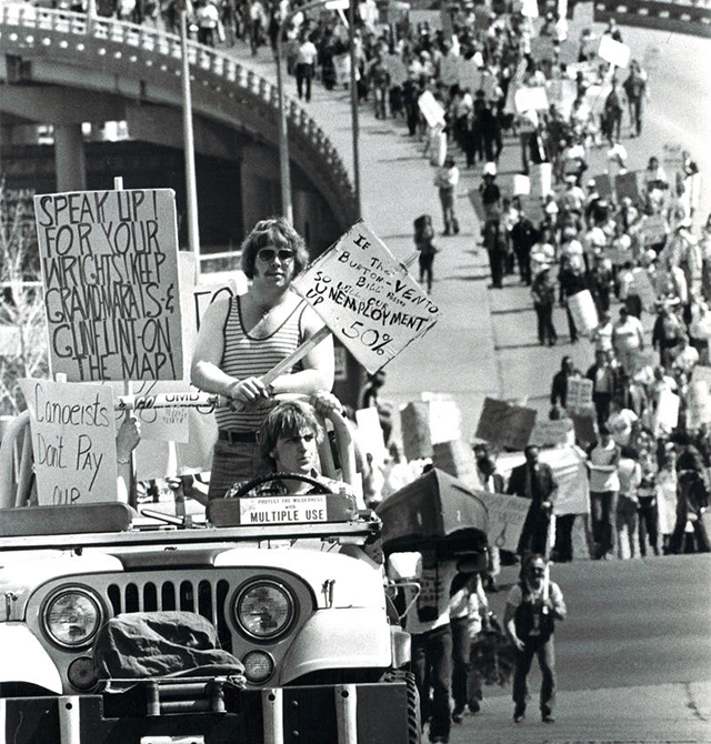 From April 1978: Protesters head up Fifth Avenue West in Duluth