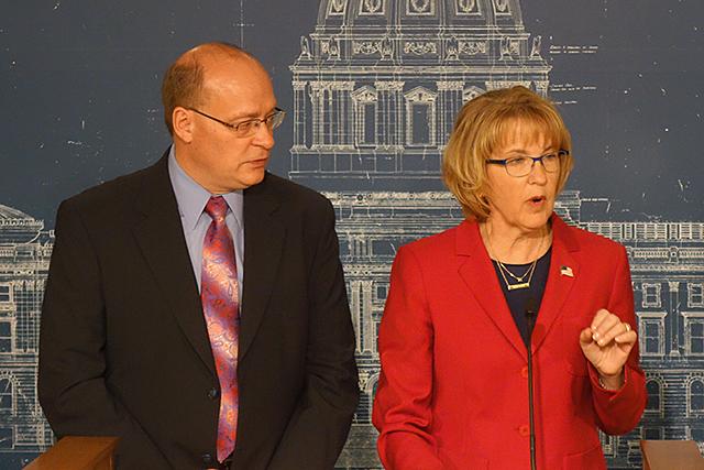 Woodbury Mayor Mary Giuliani Stephens, state Rep. Jeff Backer