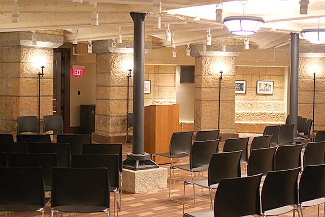 A new circular gathering space in the refurbished basement of the Capitol.