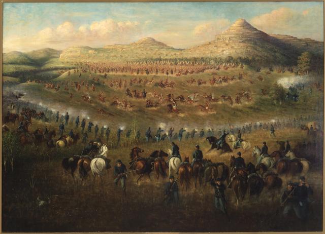"""""""Battle of Ta-Ha-Kouty (Killdeer Mountain)"""" by Carl Ludwig Boeckmann"""