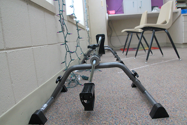 One classroom has a new set of stationary bike pedals
