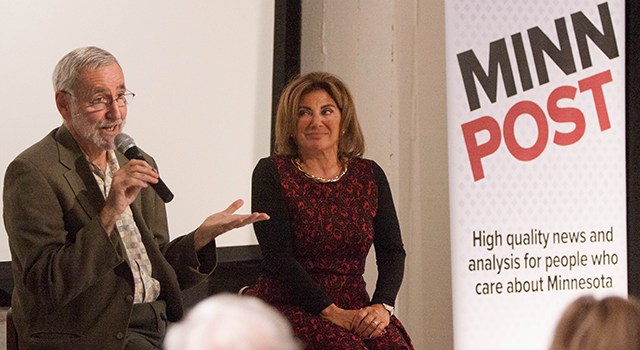 MinnPost journalists Eric Black and Cyndy Brucato took questions from attendees