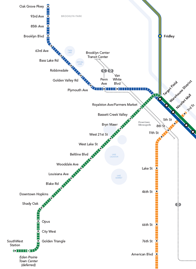 Detail of a map showing Blue and Green Line extensions.