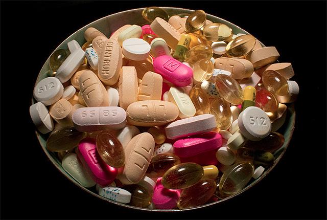 bowl of vitamins