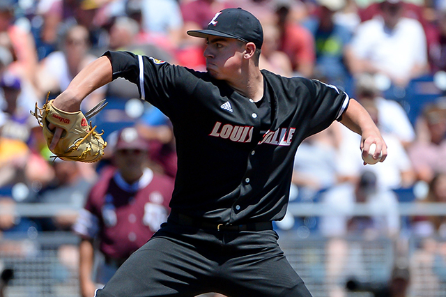 Brendan McKay pitching against the Texas A&M Aggies on June 18.