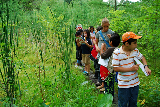 Students make observations at the Quaking Bog