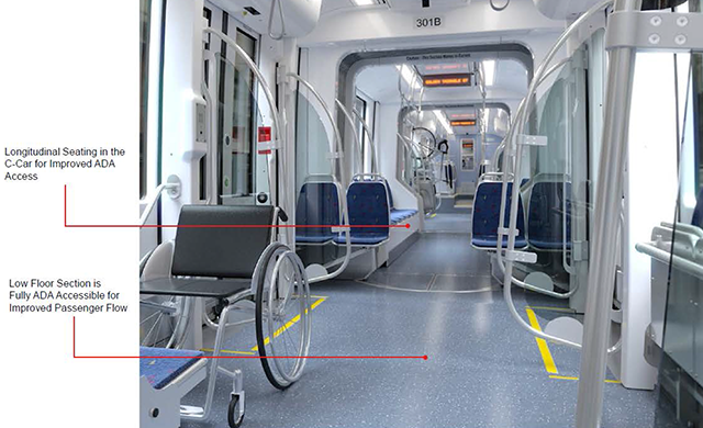 Standard wheelchairs will be able to move through the entire low floor area
