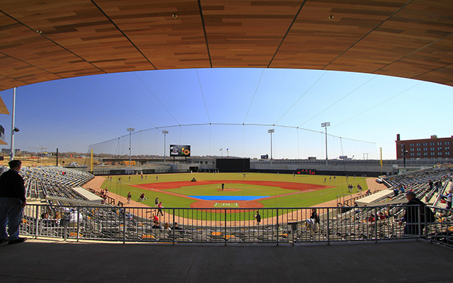 A view from behind home plate at CHS Field.
