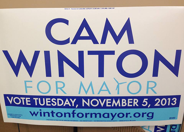 Cam Winton lawn sign