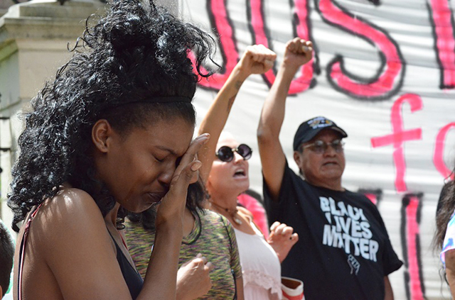 Emotions ran high as many demonstrators expressed anger and grief