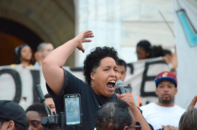 Black Lives Matter St. Paul activist Chauntyll Allen addressing Friday's crowd.